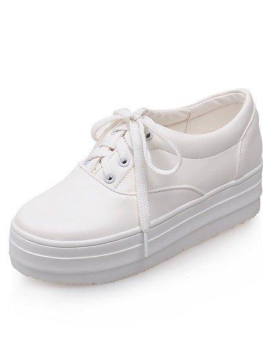 us5 Blanc Habillé Eu36 Plateforme Cn35 Femme Njx Noir Similicuir Bout Rouge Arrondi Uk3 White Creepers Chaussures 5 Richelieu 5 Décontracté 16wxYq