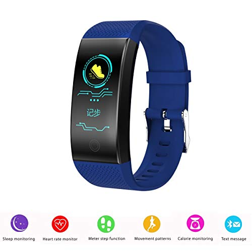 Birgus Smart Fitness Tracker Watch Bluetooth Activity Tracker Heart Rate Monitor Sleep Monitor Blood Pressure Monitor Waterproof Smart Pedometer Barcelet for Android iOS iPhone Men Wowen Kids-Blue Review