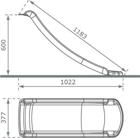 MASGAMES Rampa de tobog/án de 120 cm para Alturas de 60 cm