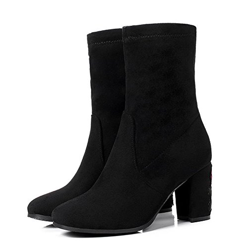AgooLar Women's Solid Blend Materials High-Heels Pull-On Square-Toe Boots Black 6grlo7rB