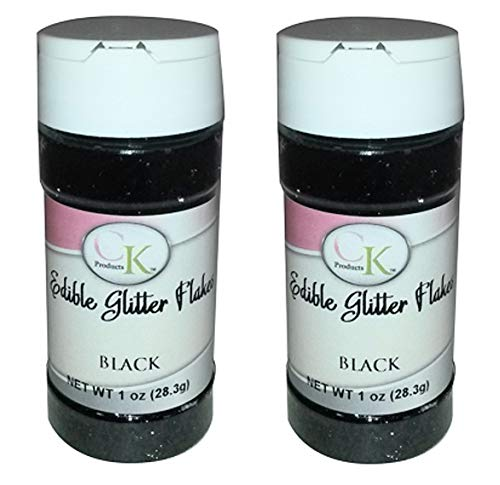 CK Products Edible Glitter Flakes - 1 Ounce Bottle - Pack of 2 (Black)