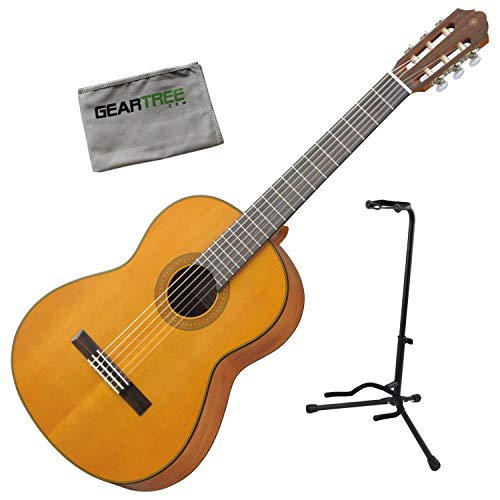 Yamaha CG122MCH Solid Cedar Top Classical Guitar Bundle w/Stand and Cloth - Stand Classical Yamaha