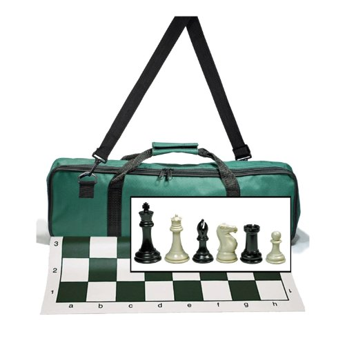 (WE Games Premium Tournament Chess Set with Deluxe Green Canvas Bag, Super Weighted Staunton Chess Pieces - 4 Inch King)
