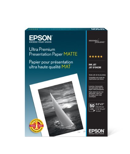 - Epson Ultra Premium Presentation Paper MATTE (8.5x11 Inches, 50 Sheets) (S041341)