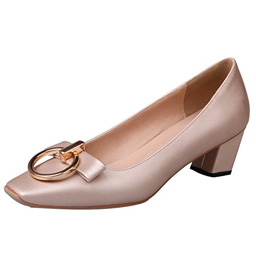 Carolbar Womens Square Toe Bows Office Lady Special-shaped Heel Pumps Shoes Beige tQjYV