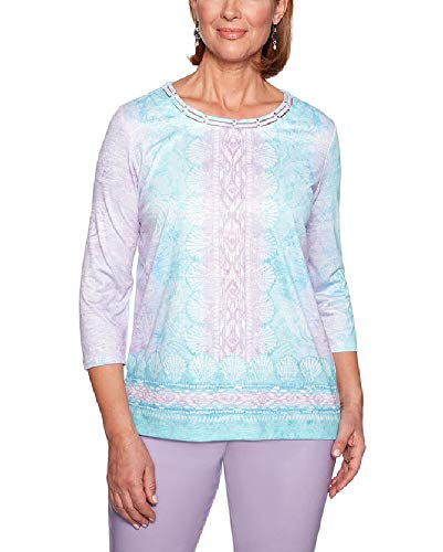 Alfred Dunner Women's Catalina Island Seashells Border Top (Petite Large) ()