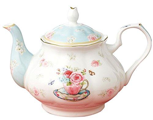 (YBK Tech Euro Style Bone China Coffee Pot Ceramic Teapot- Pink Rose)