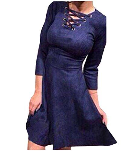 Detail Mini Waist Women's Comfy Dress Empire Lace Up Blue Casual Blouse 1pYFqAc8F