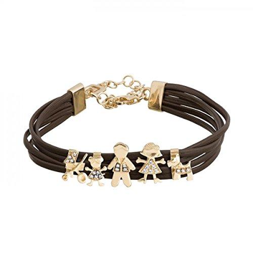 Leder-Armband 5Fäden mit Terminals Roséweine-00504177