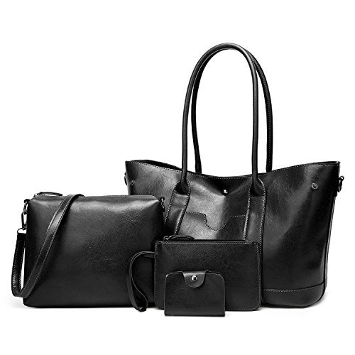 Designer 4pcs Leather Black Messenger ELIMPAUL Bag Satchel Purse Bag Tote Handle Shoulder Women Handbags Top AznnRq6d