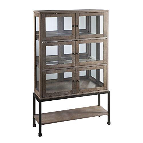 Belstrom Storage Cabinet - 3 Double Door Cabinets - Burnt Oak Wood Finish