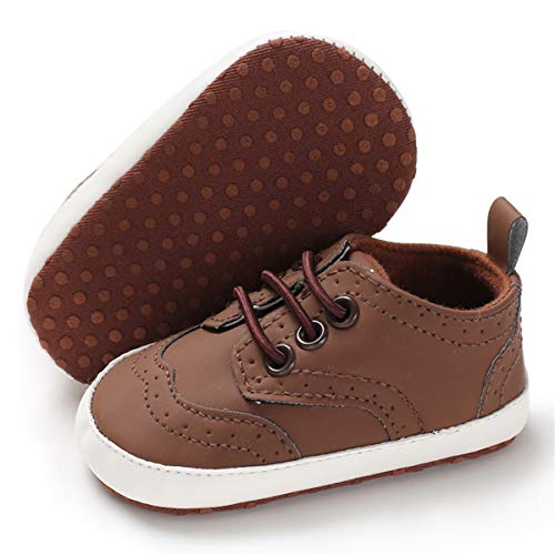 BENHERO Baby Boys Girls Oxford Shoes Soft Sole PU Leather Moccasins Infant Toddler First Walkers Crib Dress Shoes Sneaker (12-18 Months Infant),F-Brown (Brown Baby Shoes)