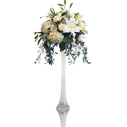 CYS EXCEL Eiffel Tower Vases in Various Size and Color, Flower Arrangements Wedding Decoration (Clear-1.5 Wide x 24 Tall)