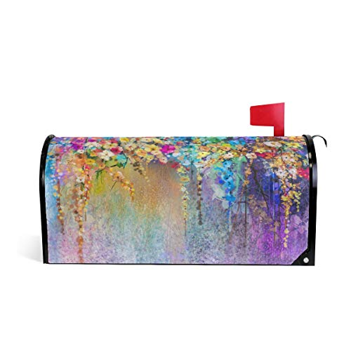 WOOR Abstract Floral Watercolor Blurred Painting Herbs Weeds Blossoms Ivy Magnetic Mailbox Cover Oversized-25.5