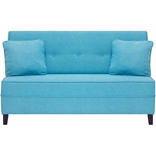 Best Choice Products Contemporary Linen Fabric Tufted Upholstered Armless Loveseat Sofa w/ Throw Pillows (Light Blue)