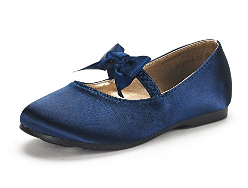 (DREAM PAIRS SOPHIA-22 Adorables Mary Jane Front Bow Elastic Strap Ballerina Flat Toddler New Navy Size 8)