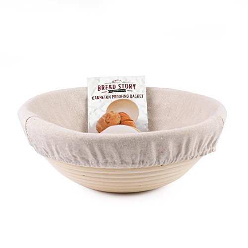 (8.5 inch) Round Banneton Proofing Basket Set - Brotform Handmade Unbleached Natural Cane Bread Baking Kit with Cloth Liner ()