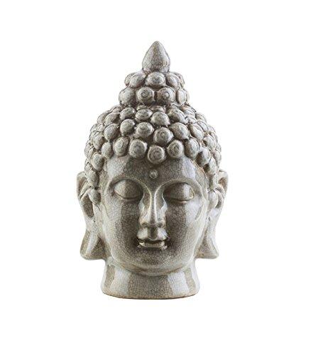 "Diva At Home 7.5"" Buddha Head Granite Gray Glossy Decorative Table Top Statue"