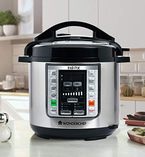 Indi-Pot 6 Quart Indian Cooking Multi-use Programmable 7-in-1 Stainless Steel Pressure Cooker, Steamer, Yogurt Maker, Sauté, Rice Cooker, Warmer and Slow Cooker with Indian Food Recipes; 6 Qts; Silver (Best Electric Pressure Cooker For Indian Cooking)