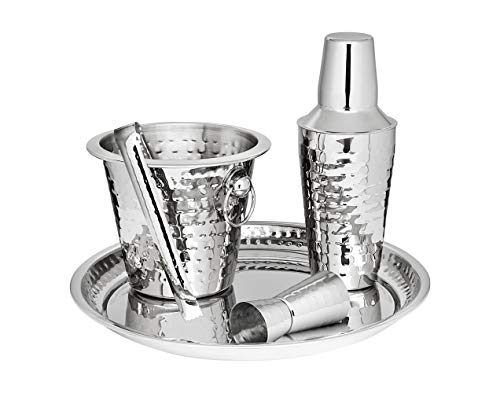 Godinger Barware Bar Tools Stainless Steel set, Includes Cocktail Shaker for Drink Mixing, Double Jigger, Ice Bucket, Tongs and Display Serving Tray