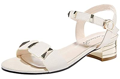 T&Mates Womens Stylish Metal Feature Block Heel Open Toe Ankle Strap Summer Comfort Sandals