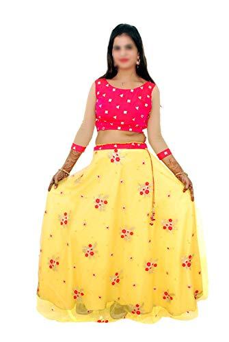 Indian Handicrfats Export Yellow Silk Solid Girl Lehenga