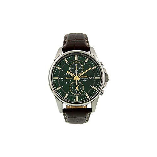 Seiko #SNAF09 Men's Leather Band Green Dial Alarm Chronograph -