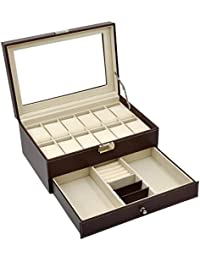 Leather 12 Mens Watch Box with Jewelry Display Drawer Lockable Watch Case Organizer,Brown,AW-003