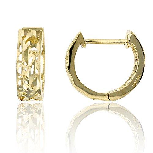 14K Yellow Gold Diamond Cut 4.00x10.00mm Filigree Huggie Earring
