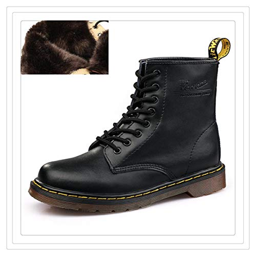 Shoes Men Boots Doc Martins Leather Winter Warm Shoes Motorcycle Mens Ankle British Martins Vintage Classic Oxfords Shoes Martin Black Fur Boots 4.5 -