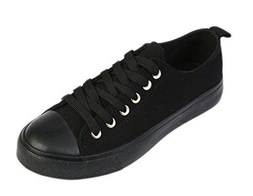 Shop Pretty Girl Damen Sneakers Casual Leinwand Schuhe Solid Farben Low Top Lace Up Flache Mode Alles schwarz