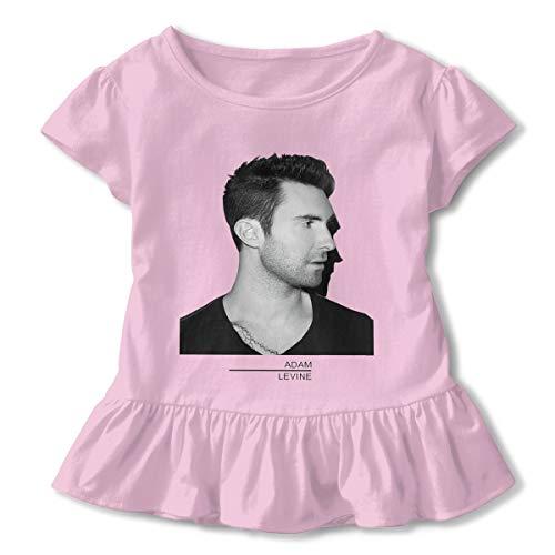 Kid T Shirt Adam Levine Music Band 3D Tee Baseball Ruffle Short Sleeve Cotton Shirts Top for Girls Kids Pink