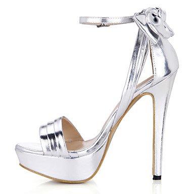 LvYuan Mujer-Tacón Stiletto-Confort-Sandalias-Boda Vestido Fiesta y Noche-PU-Plata Oro Black