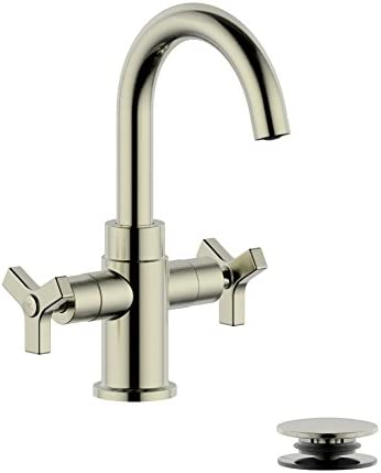 Derengge LF-T0081-BN Two-Handle Single Hole Bathroom Sink Faucet with Plastic Pop-Up Drain, Brushed Nickel Finished