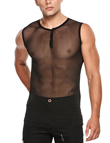 COOFANDY Mens Sexy See Through Sleeveless T-Shirt Mesh Fishnet Clubwear Tank Top Undershirts,Black,Small - Sexy See Through Fishnet