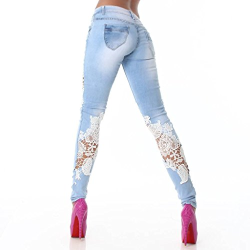 Pants Jeans Pantaloni Donna Azzurro Matita Moda Azzurro Monika Cucitura Jeans Skinny Lunghe Pizzo Primavera nA6WwqRf