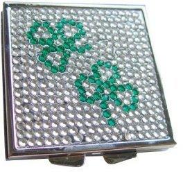 Irish Gifts - Irish Jeweled Compact Mirror - Shamrocks - UK Gifts ()