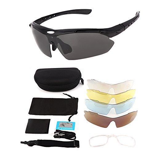 Polarized Sports Sunglasses for Men Women, KEMIMOTO Motorcycle Rider Glasses With 5 Lens Kits for Cycling Running Driving Fishing Golf Baseball Glasses by KEMIMOTO