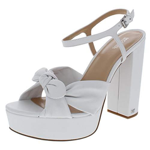 - Michael Kors Womens Pippa Platform Leather Dress Sandals White 10 Medium (B,M)