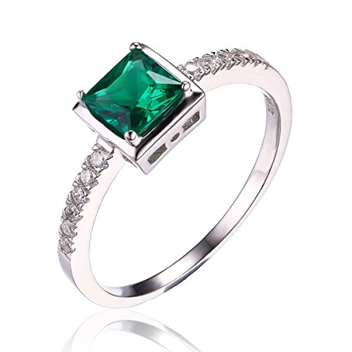JewelryPalace Jolie 0.63ct Bague Femme Canal en Nano Russe Imitation Emeraude Verte en Argent Sterling 925