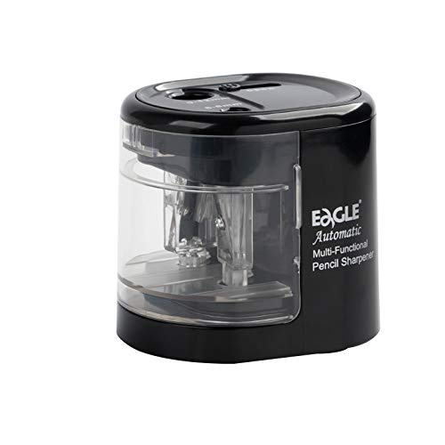 Eagle Double Hole Electric Pencil Sharpener,Battery/USB Operated,Fit For Different Size Pencils,6-8mm,9-12mm