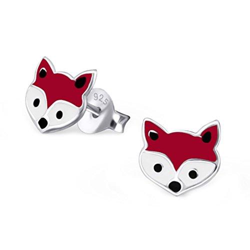 Cute Fox Face Studs Earrings 925 Stering Silver (E18660) (18660) by PTN Silver Jewelry (Image #1)