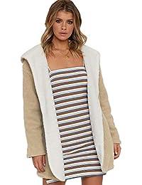 Women s Fall Winter Fleece Cardigan Jacket Coats Faux Lam Wool Reversible Fleece Sweatshirt Coat
