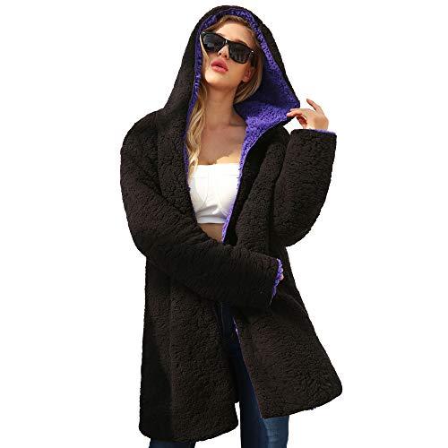 Forti ❤ Giacca Ragazza Cappotto Eleganti Invernali Taglie Scialle Casual Maniche Donna Autunno Lunghe Moda Sintetica Cardigan Vicgrey Eleganti Pelliccia Cappotti Peloso Viola qTIdq