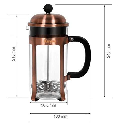 f/ür unterwegs Kuyal Cafeti/ère Kaffeebereiter franz/ösische Presse Home-Office Edelstahl-Kaffeekanne mit extra 3-teiligem Ersatzfilter 1 l // 34 oz // 8 Tassen