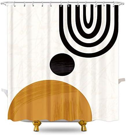 KOMLLEX Cute Mid Century Shower Curtain Set for Bathroom 60Wx72H Inch Fabric Abstract Sun Minimalistic Curve Bathtub Curtains Set for Men Kids Modern Geometric Bath Accessories 12 Pack Plastic Hooks