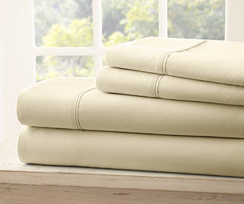 Queen Size Royal Collection 1900 Thread Count Bamboo Quality Bed Sheet Set With 1 Fitted, 1 Flat and 2 Standard Pillow Case.Wrinkle Free Shrinkage Free Fabric, Deep Pockets (Tan/ Cream) (Bamboo Fabric Store)