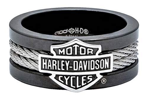 Harley-Davidson Men's Ring, Bar & Shield Steel Cable Band, Black HSR0021 (9) ()