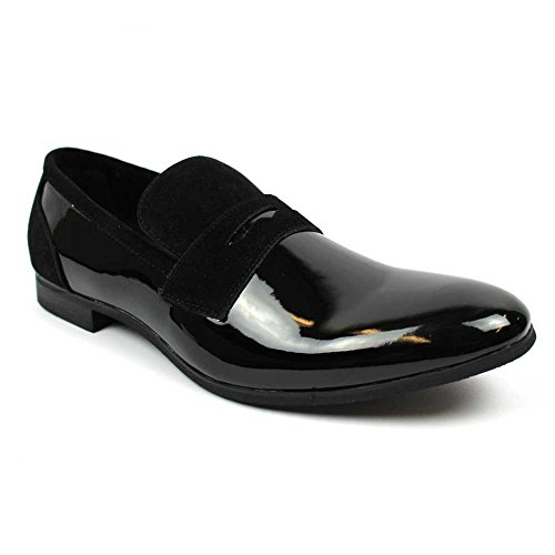 Detail Loafers - Tuxedo Black Suede Patent Leather Slip On Loafer Modern Bradley Dress Shoes by Azar (8.5 U.S 42 EU, Patent Suede Details)