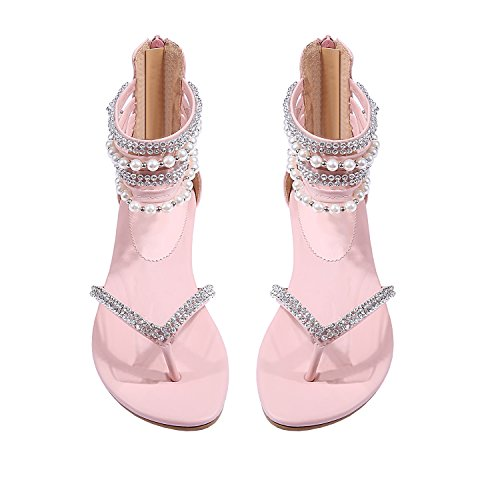 Women Sandals Flat Dress Wedding Sandals Diamond Pearl Thong Rhinestone Shoes (5(M) US, Pink) -
